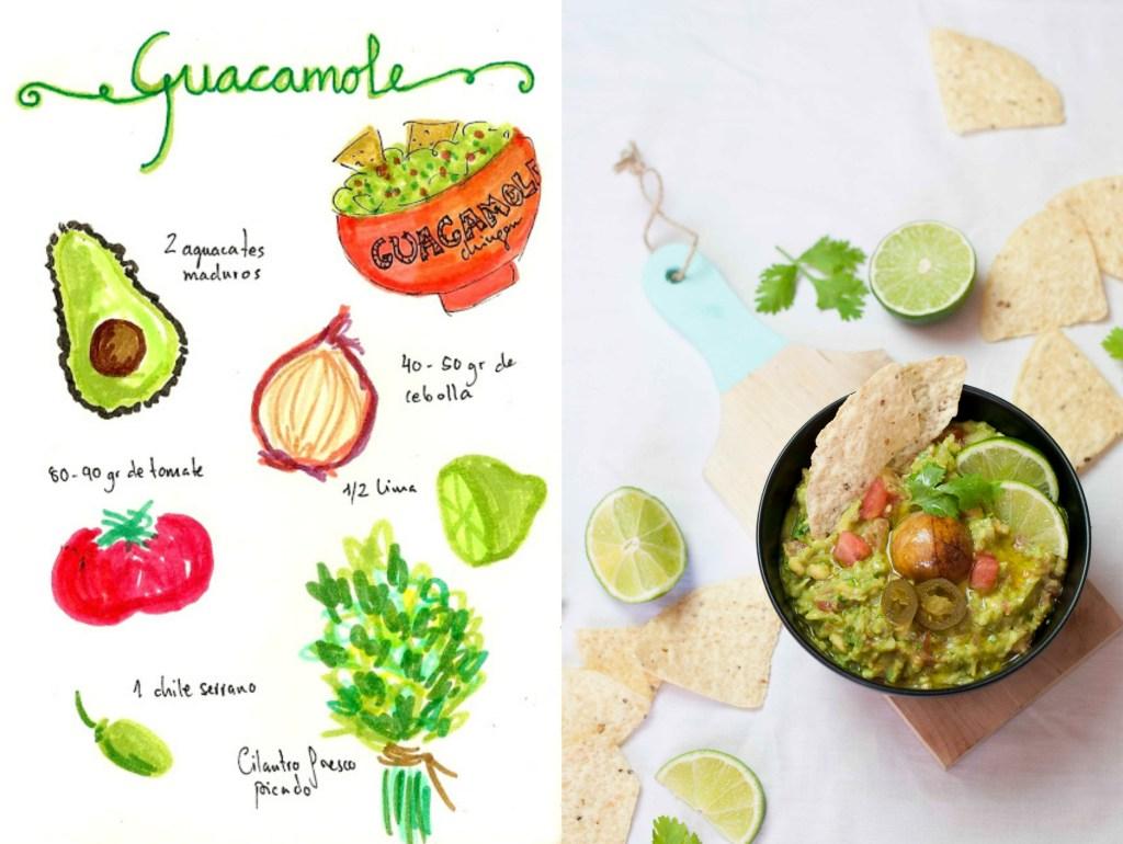 guacamole dibujo aguacate recetas ilustradas