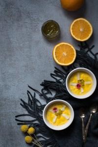 Salmorejo de naranja, porra de naranja con bacalao