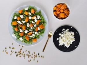 græskarsalat med grønkål og feta
