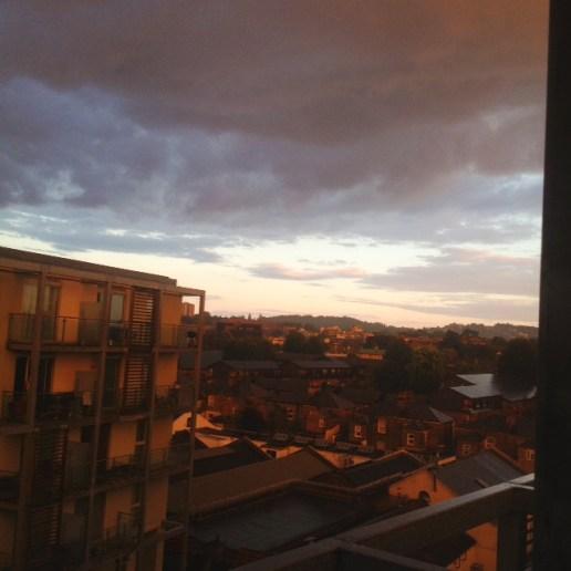balcony view, peckham sun, sunset peckham, south london sunset, south london view