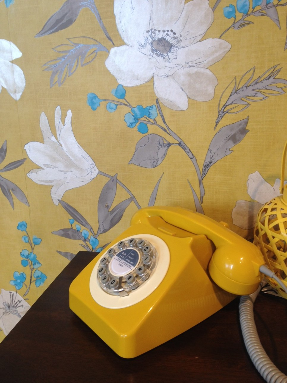 vintage phone, mustard colour, mustard and blue, vintage interiors