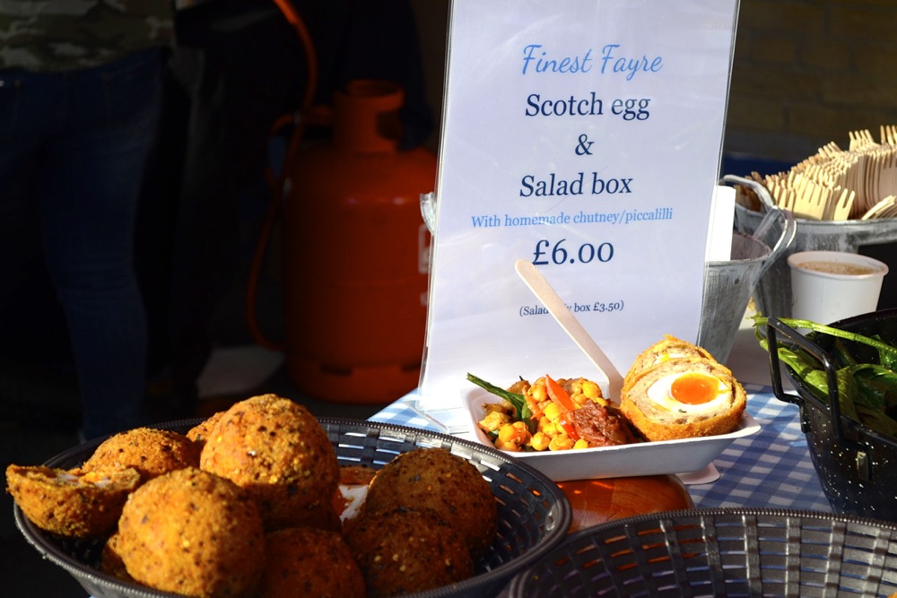 gooey scotch egg, salad, street food, british food