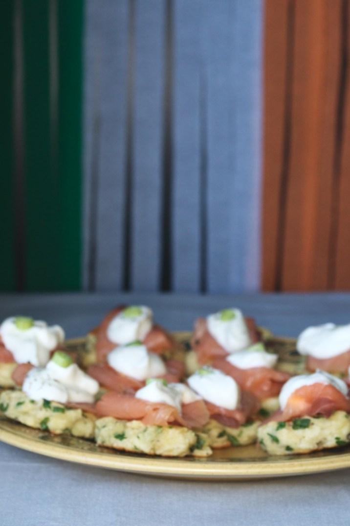 blurred potato blinis salmon irish flag