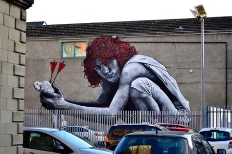 Boy with Pigeon Belfast street art