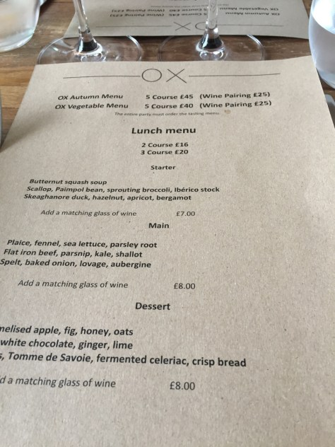 Ox Lunch Menu