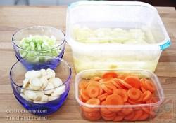 Zöldségek felszeletelve