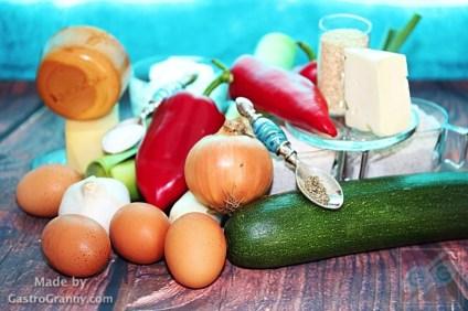 Hozzávalók-Kétsajtos zöldséges tart