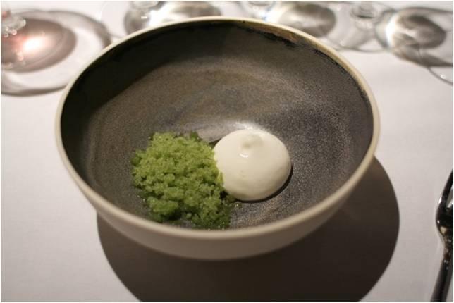 Grillet og syltet agurk, skovsyre-granité og peberrodssorbet