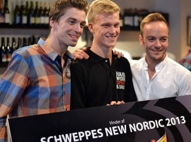 Vinderen Theodor Kier, flankeret af Jeppe Ipsen (2. pladsen) og Daniel Jodanov (3. pladsen)