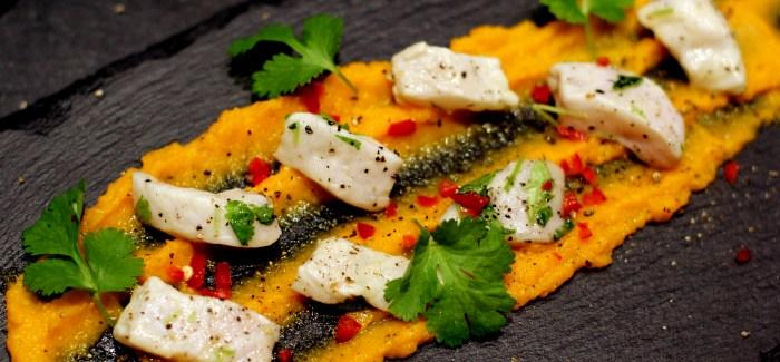 Nytårsforret: Ceviche af Pighvar, gulerodspuré og brunet smør