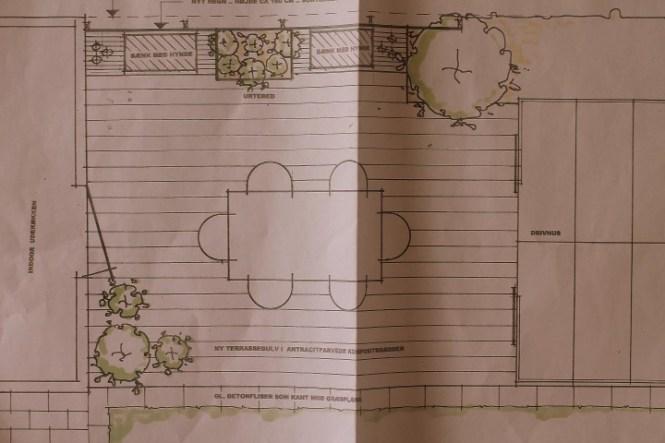Tegning over terrassen.