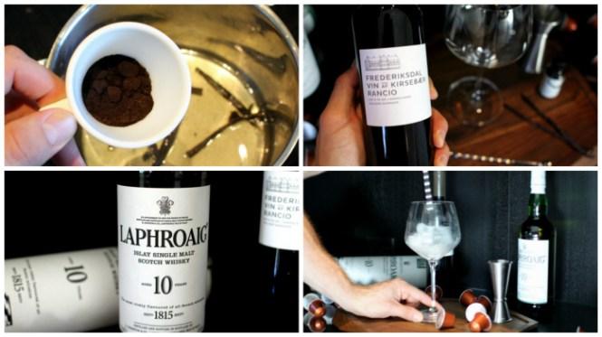 Kaffe, Kirsebærvin, Laphroaig og is...