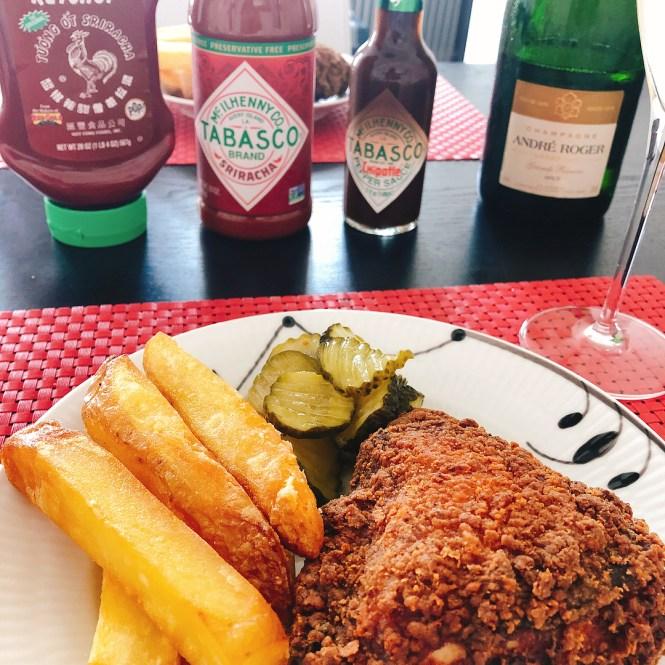 champagne og fried chicken