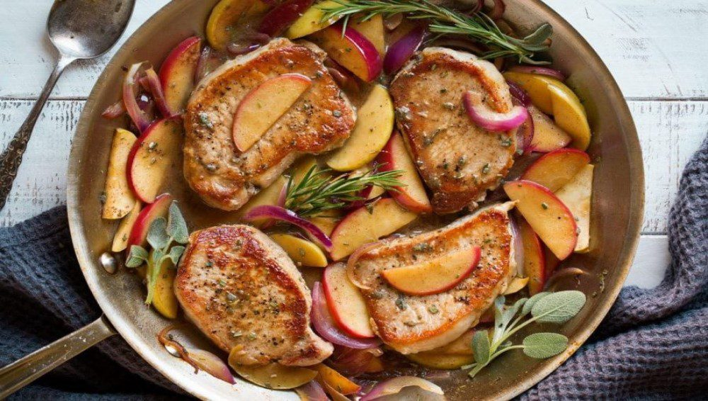 guisado, cerdo, carne, fruta, manzana