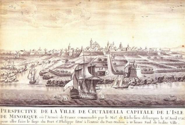 Ciutadella desde la mar sXVIII