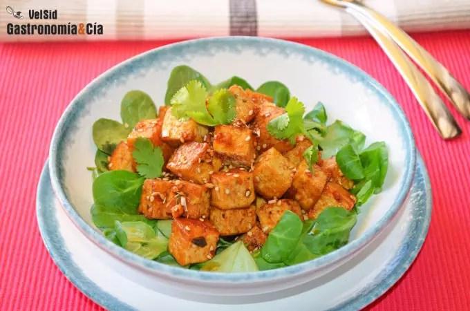 Tofu con sriracha y miel