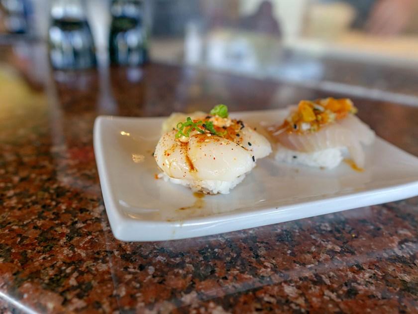 Sushi Groove - scallop with Tobiko, togarashi, spicy mayo, green onion, ponzu