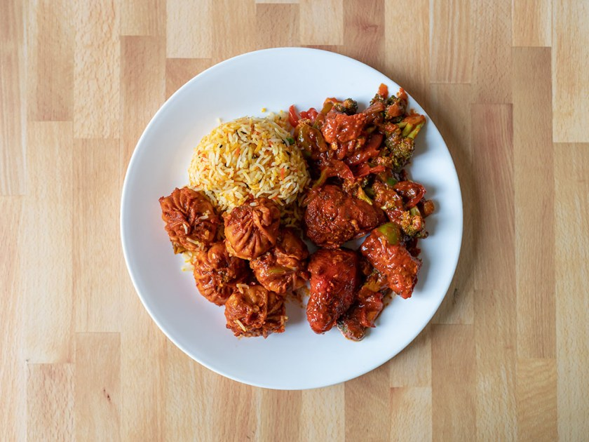 Bhutan House - chili momos, pilau and chicken tandoori via Chefpanzee