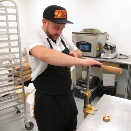 Chef Guess demonstrates his hand cranked pasta technique