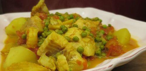 Curry de poisson et petits pois