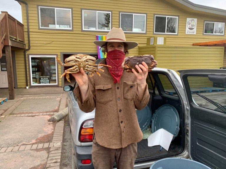 The Crab Man selling Dungeness Crab in Eastsound, Orcas Island