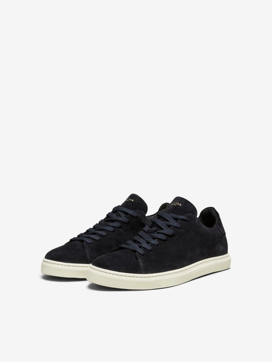 Selected - Slhdavid suede perforated trainer dark navy | Gate36 Hobro