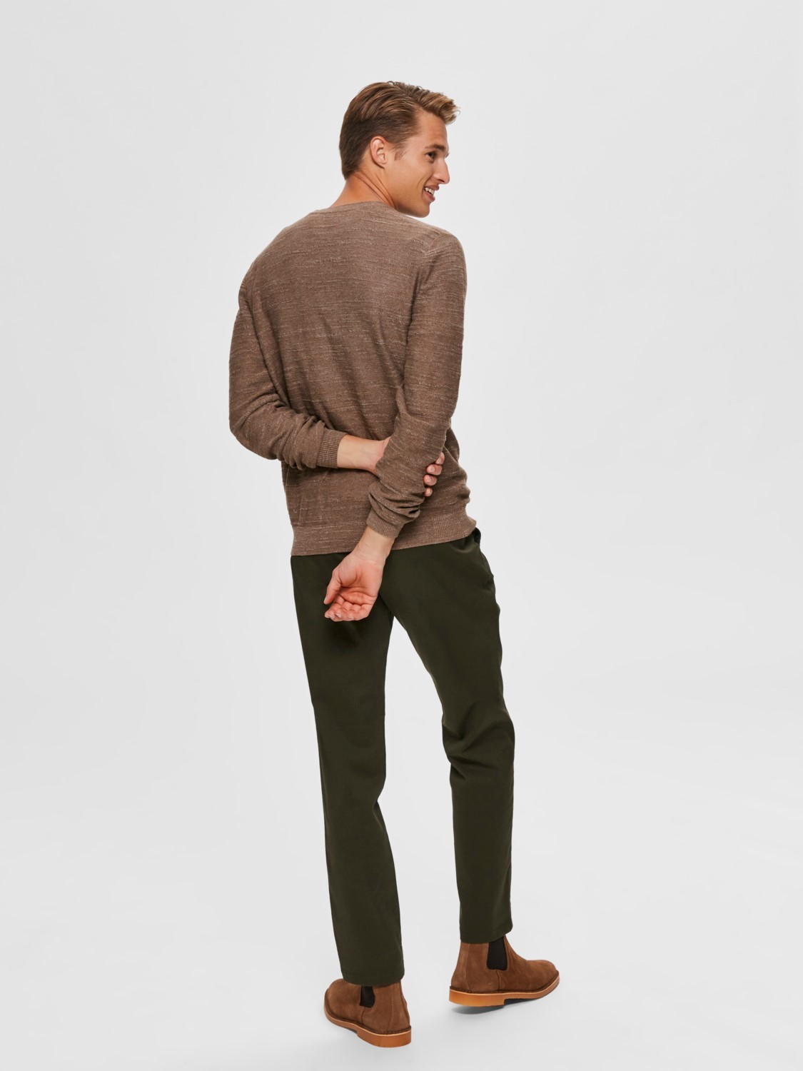 Selected - Slhbuddy crew neck Strik teak/uneven bud | Gate36 Hobro