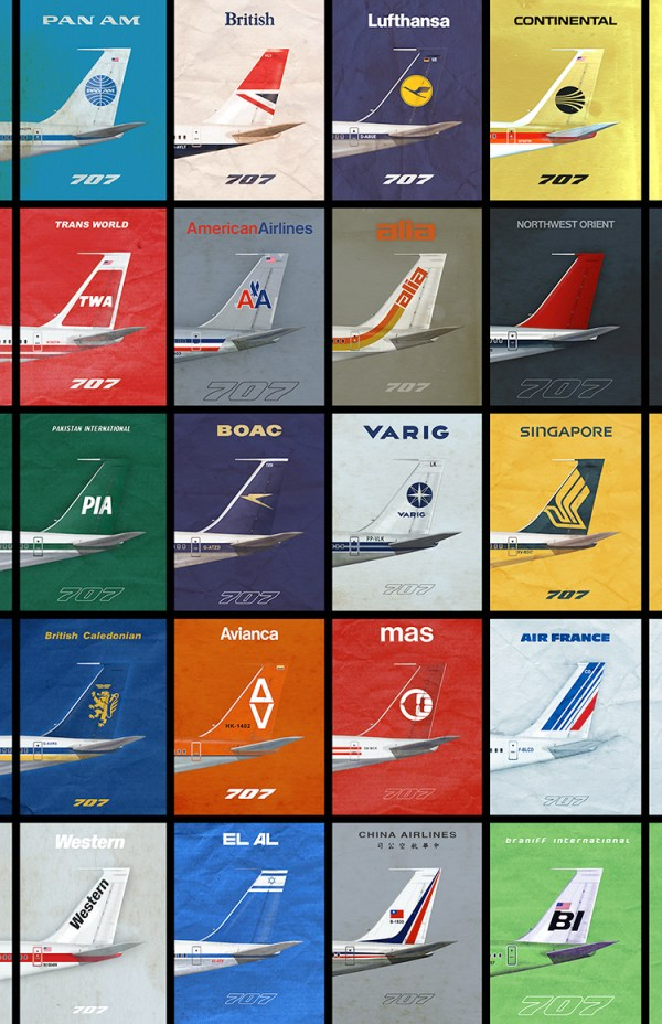 707 Empennage 1970s Airliner Poster