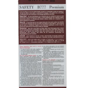 United Airlines Boeing 777 Safety Emergency Card/Emergency Card 10/11
