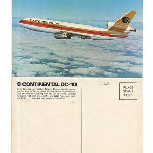 Continental Airlines DC-10 Postcard
