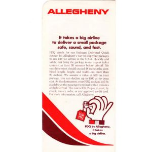 Allegheny Airlines PDQ Ticket Envelope