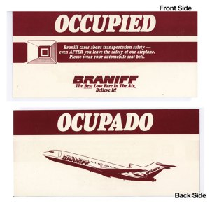 Braniff Airlines II Occupied Seat-Pocket Card