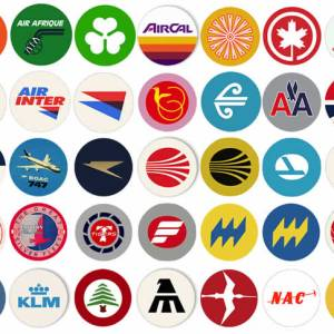 Retro Airline Fabric Drink Coasters