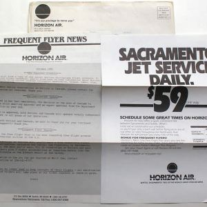 Horizon Air Frequent Flyer News Letter & Envelope 1985