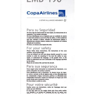Copa Airlines EMB-190 Aircraft Emergency Safety Card