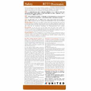United Airlines Boeing 777 Overwater Safety Emergency Card 10-04