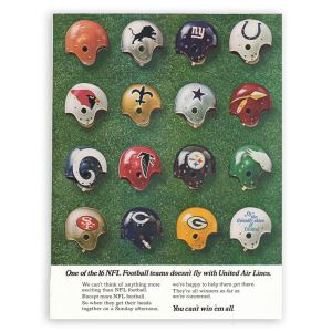 United Airlines NFL Football Print Ad 1969