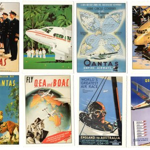 Qantas Retro Posters Postcard Collection (8)