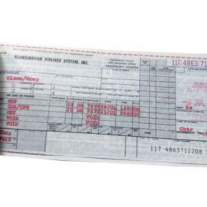 SAS Scandinavian Airlines Ticket 1984