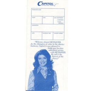 Capitol Airlines Sky Saver Boarding Ticket Envelope