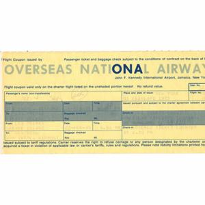 ONA Overseas National Airlines Ticket & Envelope