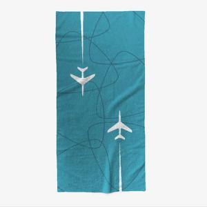Mid-Century Jet-Age Overseas Travel Beach Towel – BLUE