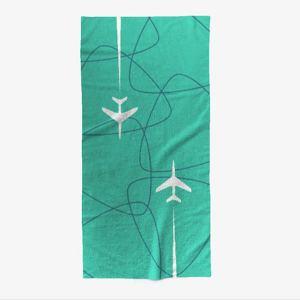 Mid-Century Jet-Age Overseas Travel Beach Towel – TEAL