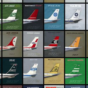 (NEW) 707 Empennage 1960s Era Airliner Poster – 11 x 17 (2019) 2nd Edition