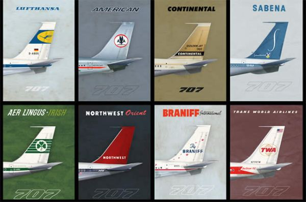 707 Empennage 1960s Era Airliner Poster