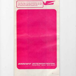 Braniff International Air/Motion Sickness Bag (11″)