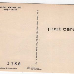 Capitol Airlines DC-6B Postcard