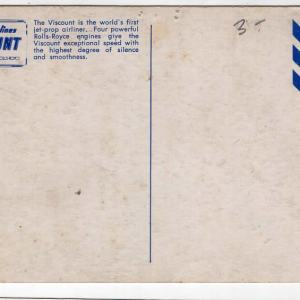 Capitol Airlines Vickers Viscount in-Flight Postcard