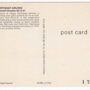 Northeast Airlines Douglas DC-9 Postcard