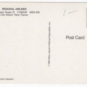 Regional Airlines Jetstream Super 31 Postcard